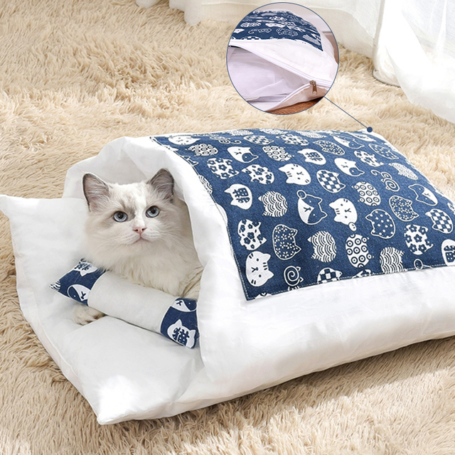 Japanese Cat Bed Winter Removable Warm Cat Sleeping Bag Deep Sleep Pet Dog Bed House Cats Nest Cushion with pillow 1