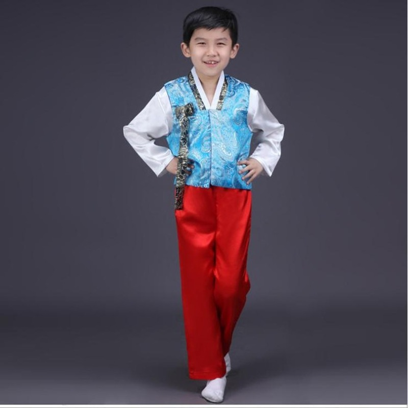 Kids Korean Traditional Hanbok Cosplay Costumes Baby Boys Nationality Performance Clothes Set Stage Tops Dance Party Outfit 2pcs