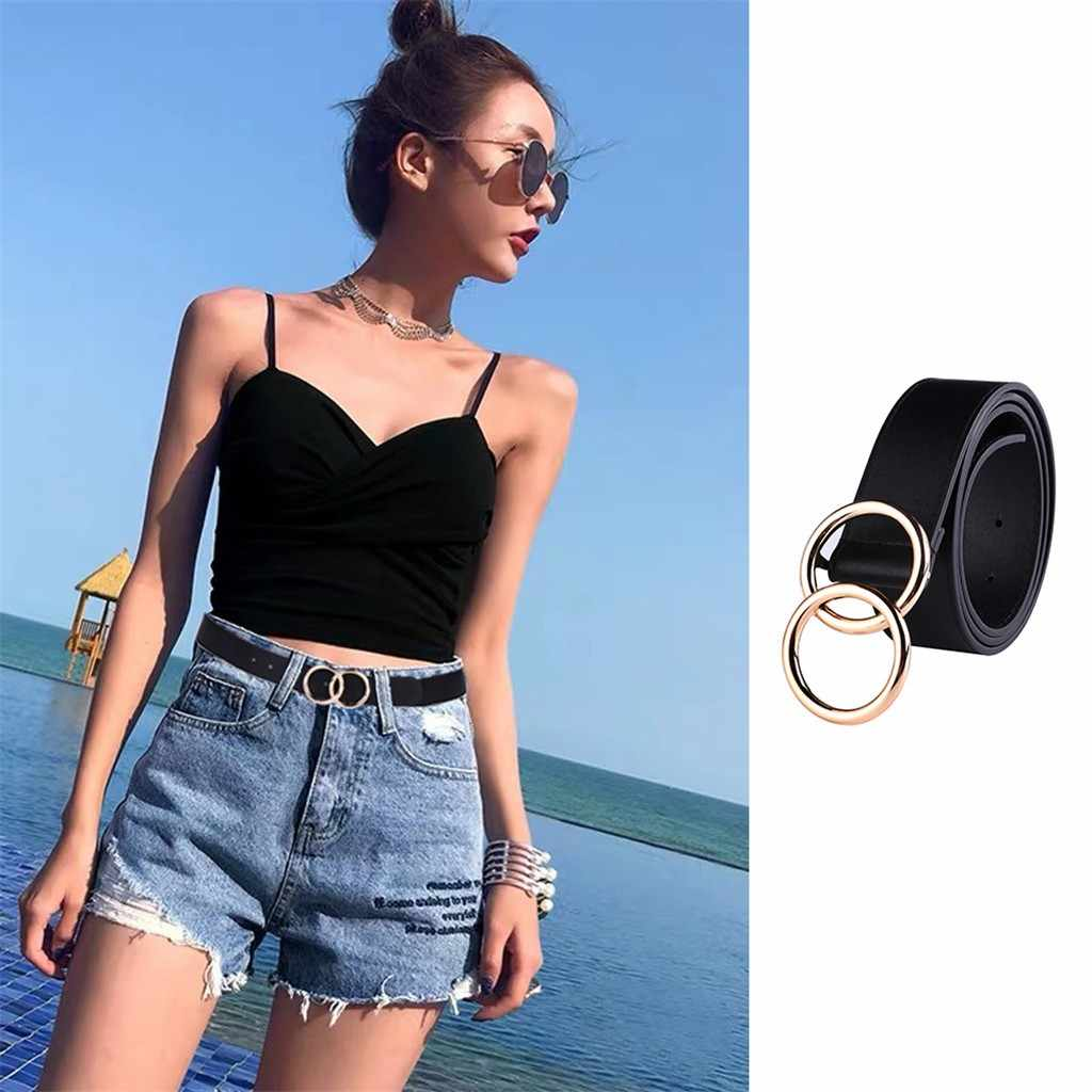 women's sexy ring buckle belt Casual Wild Double Buckle Belt Simple Temperament black Double Buckle Belt fashion belts#103y25