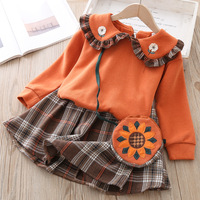 Vestido Infantil Baby Girl Dress Baby Dress Girl Yangqi Princess College Wind And Autumn Wear Guard Clothes Chequered Two piece