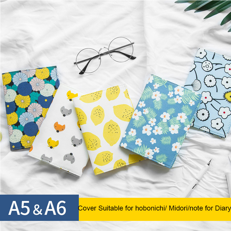 Fromthenon Japanese Fabric Notebook Cover For Hobonichi Planner A5A6 Cute  Diary Refill Book Protective Shell School Stationery