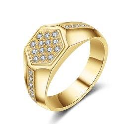14K Yellow Gold Men Rings Origin Natural AAA Carat Diamond Gemstone Hexagon Invisible Setting 14 K Yellow Gold Rings with Box