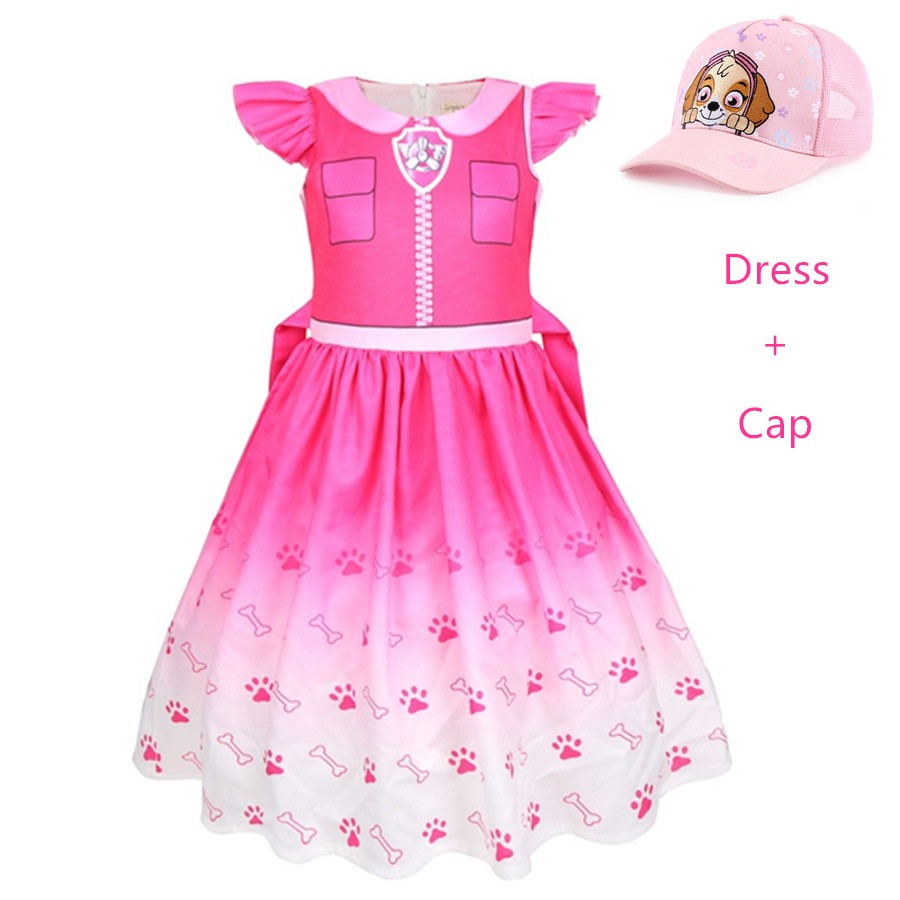 Girls Halloween Party Patrol Dog Cosplay Kid Skye Costume Dress Pretty Dog Children Suit Chase Cosplay Lol Role Play Costumes