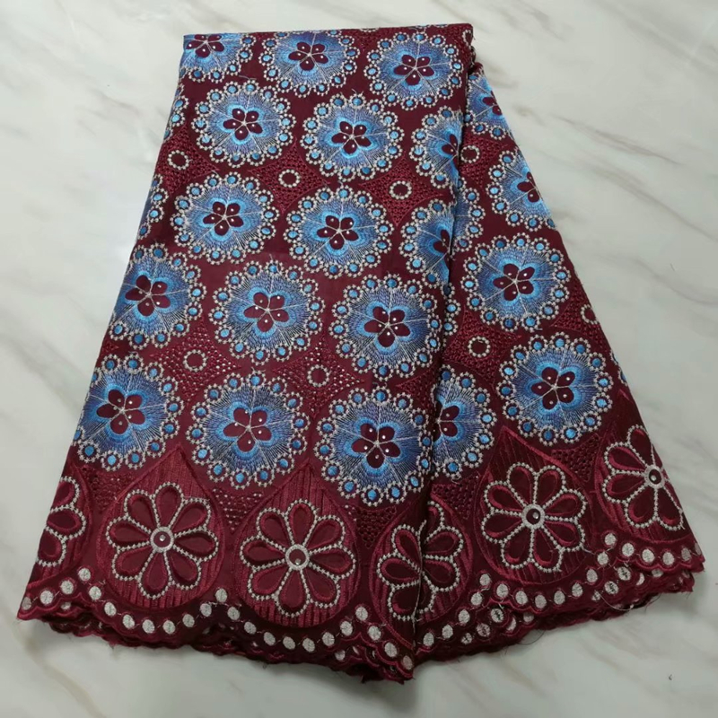 Burgundy White French Lace Fabric With Stones 2020 High Quality African Lace Embroidery Nigerian George Lace Fabric For Garment
