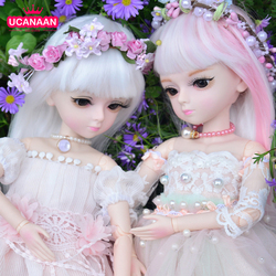 BJD Doll 1/4 45CM Girls Dolls 18 Ball Joints with Full Outfits Pink Wig High-end Dress Set Shoes Makeup Girl Collection Doll