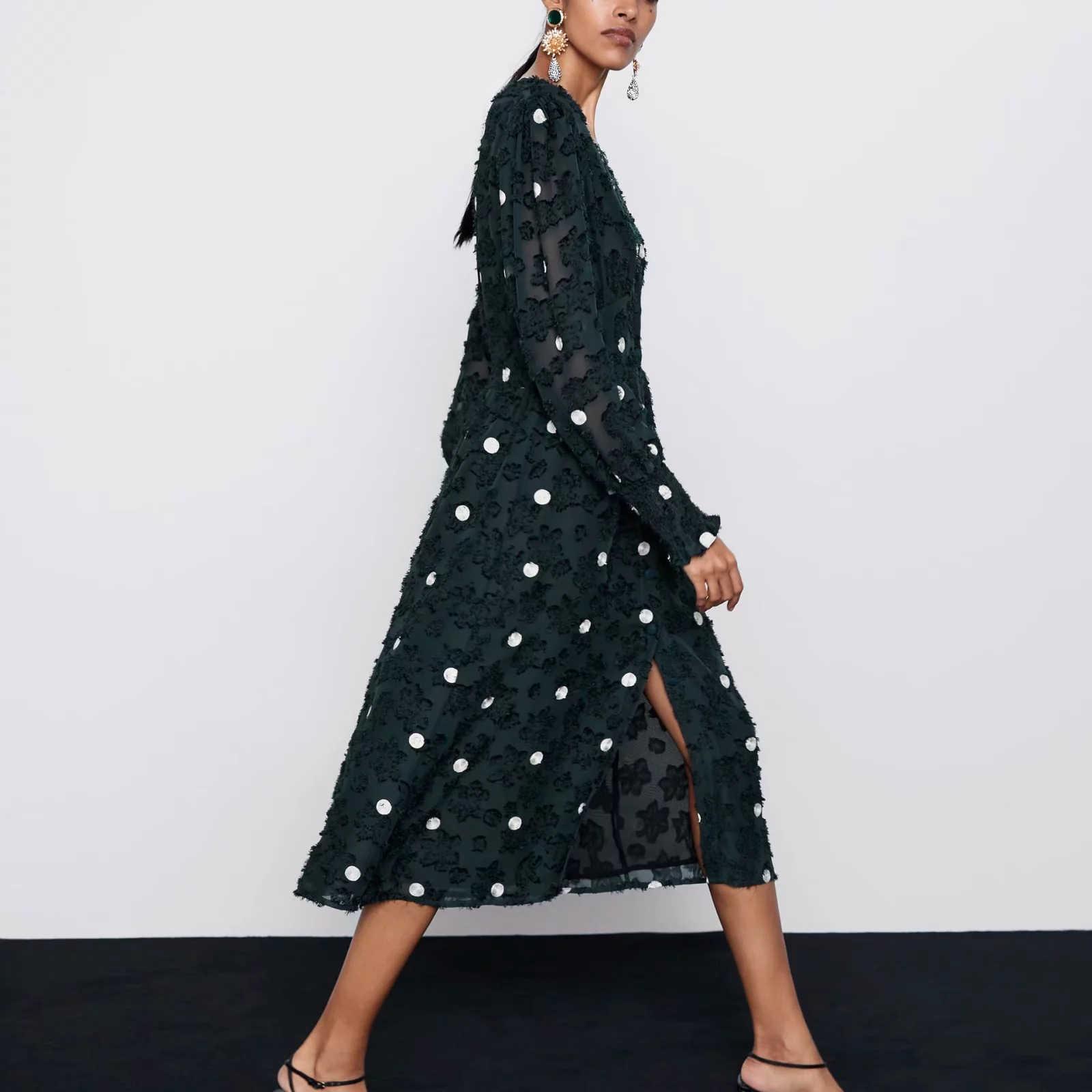 ZA 여성 드레스 2019 그린 자카드 도트 랜턴 슬리브 v-목 세련된 숙녀 슬림 우아한 롱 드레스 여성 드레스
