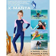 Children Wetsuit Girl Patchwork Long Sleeve Sunshade UV Protection One-Piece Suits Swimsuit Diving Suit(China)