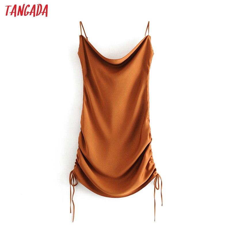 Tangada 2020 Fashion Women Solid Mini Dress Strap Adjust Sleeveless Ladies Pleated Party Dress Vestidos 3H439