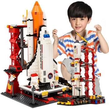 City Spaceport Space Shuttle Launch Center Building Blocks Bricks Educational Kids Toys  1