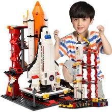 QWZ şehir Spaceport uzay mekiği fırlatma merkezi yapı taşları tuğla eğitici çocuk oyuncakları çocuklar için noel hediyeleri