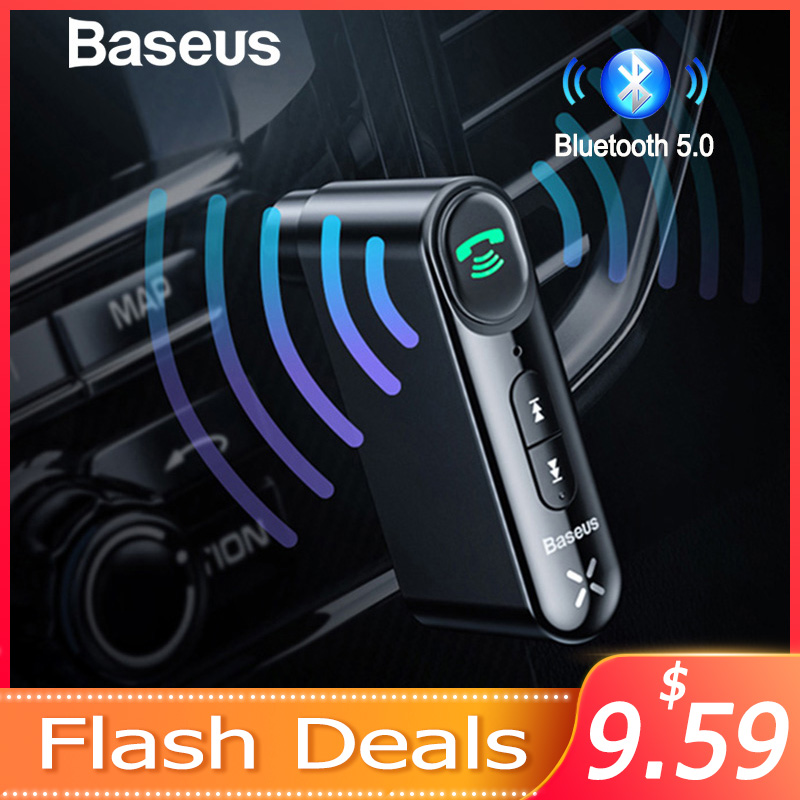 Baseus aux receptor bluetooth do carro 3.5mm jack áudio música bluetooth 5.0 kit carro sem fio handsfree alto-falante bluetooth estéreo do carro