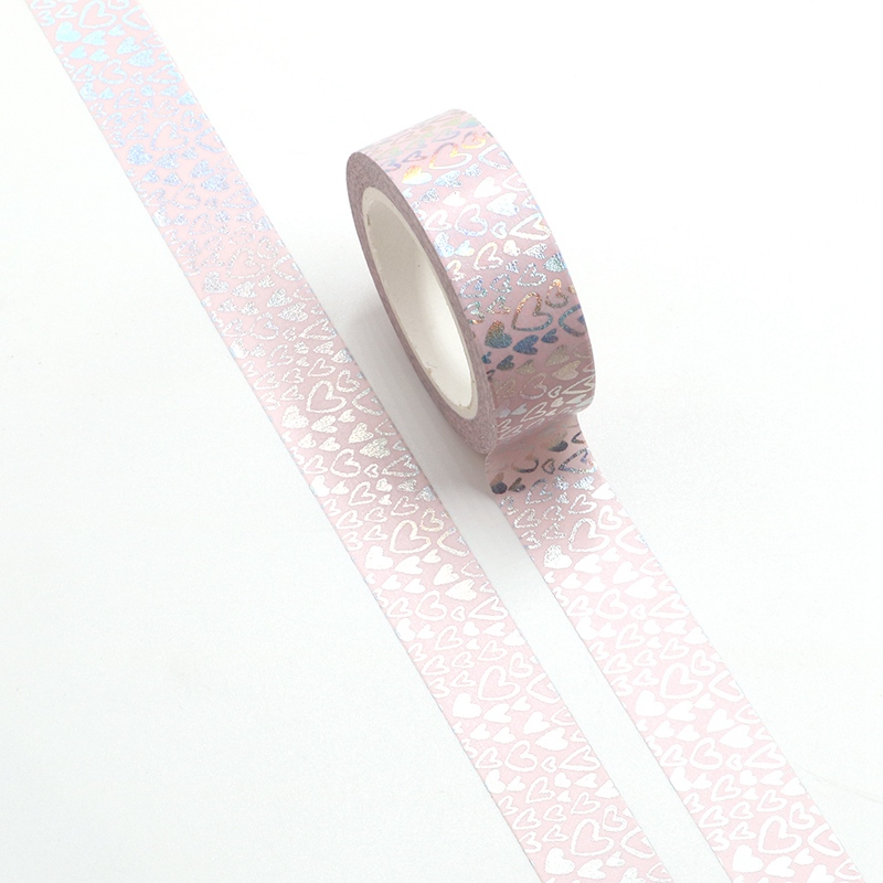 NEW Cute Silver Foil Hearts Washi Tape Japanese Paper For DIY Planner Scrapbooking Stickers Decorative Masking Tape Stationery