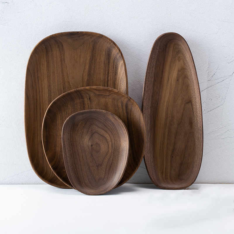 Irregular oval nogueira placa de madeira pan pratos frutas pires bandeja de chá sobremesa placa jantar talheres conjunto