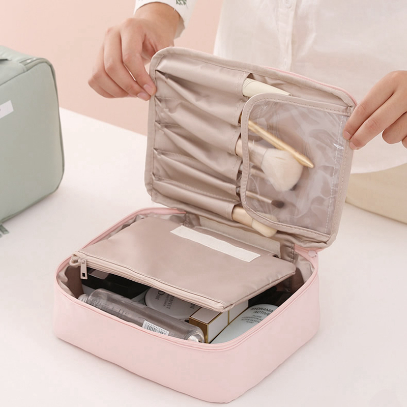 Fashion Solid Color Makeup Bag Travel Storage Organizer Cosmetic Waterproof Portable Girl Wash Zipper Women Beauty Make Up Case