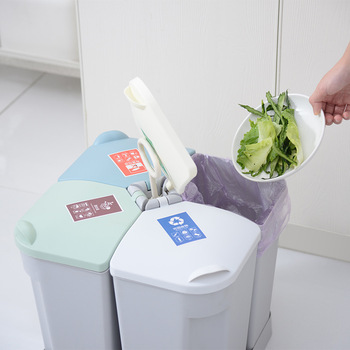 New Kitchen Classified Trash Can Household Classification Waste Bin With Lid Trash Bag Holder Bathroom Garbage Can For Recycling
