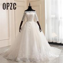 Barco pescoço meia manga vestidos de casamento 2020 novo luxo rendas bordado apliques lantejoulas vestido de baile feito sob encomenda