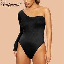 Colysmo Off Shoulder Sexy Bodysuit Women Elastic One Shoulder Backless Elegant Autumn Bodysuits Long Sleeve Skinny Bodysuit flower applique off shoulder bodysuit