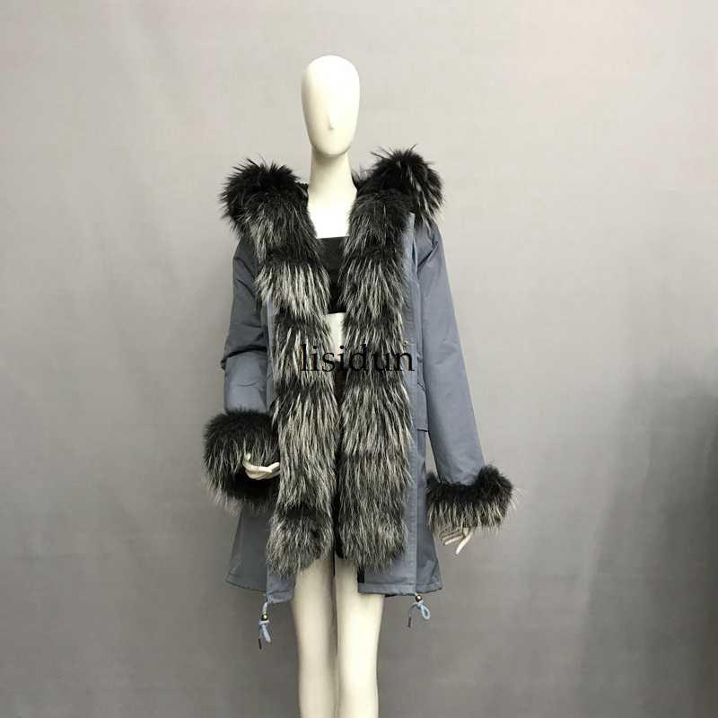 2019 abrigo de piel Real de zorro parkas chaqueta de invierno abrigo de mujer parka grande de piel de mapache real collar piel de zorro natural forro larga prendas de vestir exteriores