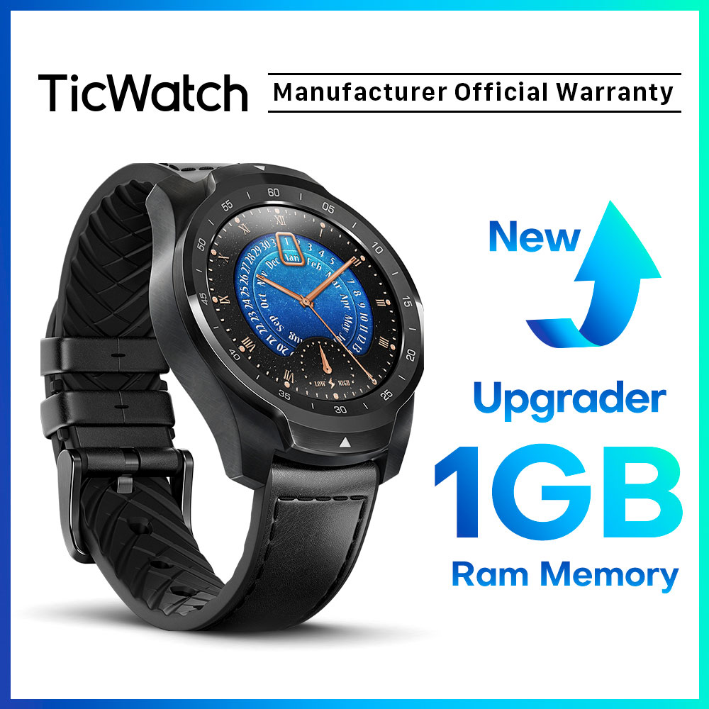 TicWatch Pro 2020 1GB RAM Memory Smartwatch Dual Display IP68 Waterproof NFC Available Sleep Tracking 24h Heart Rate Monitor