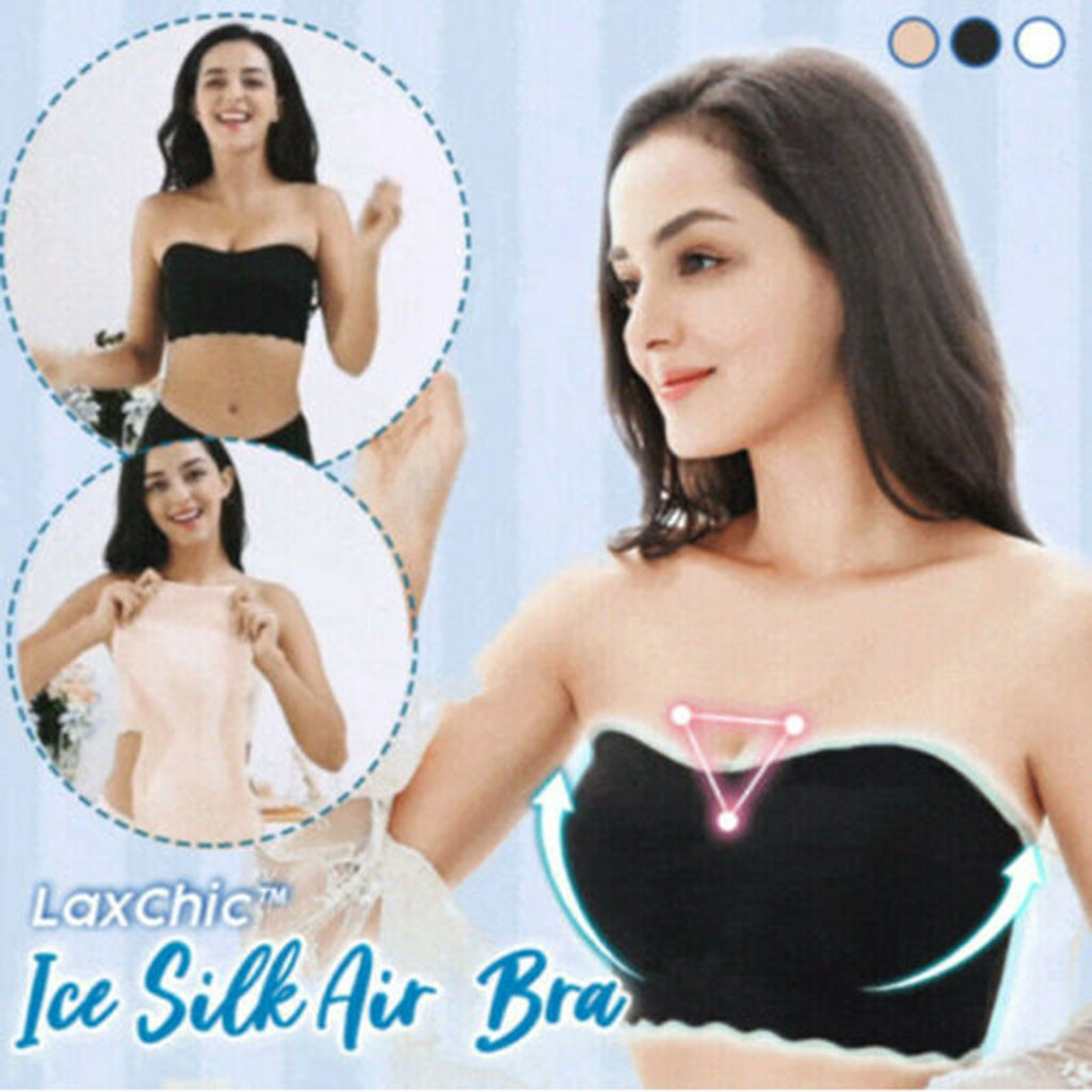 Womens Fashion Bandeau Summer Floral Lace Seamless Bandeau Wire Bralette Strapless Ladies Tube Top Ice Silk Air Bra #YJ