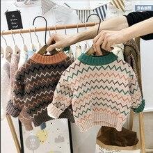 Зимние вязаные свитера для маленьких мальчиков и девочек; теплый пуловер с круглым воротником и длинными рукавами с волнистым принтом; топы;# g4