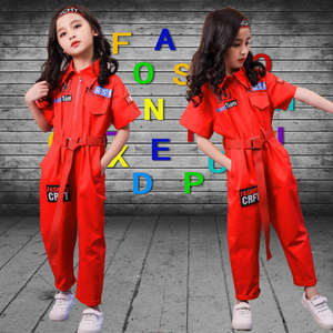 Image 3 - New Kids Clothes Girls Sets Casual Outfit Large Size Turn down collar Tops Jumpsuit Long Pants Waistband Straight Children Sets
