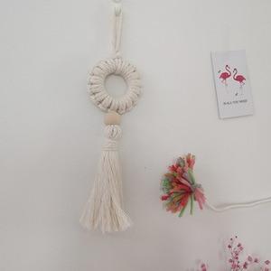 Image 5 - Colgante de pared de macramé nórdico tejido a mano de algodón, tapiz de pared pequeño, cabecero de habitación para niños, accesorios de fotografía, decoración Bohemia