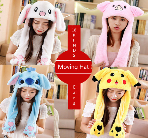 Airbag-Cap Rabbit-Ears Plush Cute Fashion Polyester 18-Color Moving-Hat Can-Be-Choose