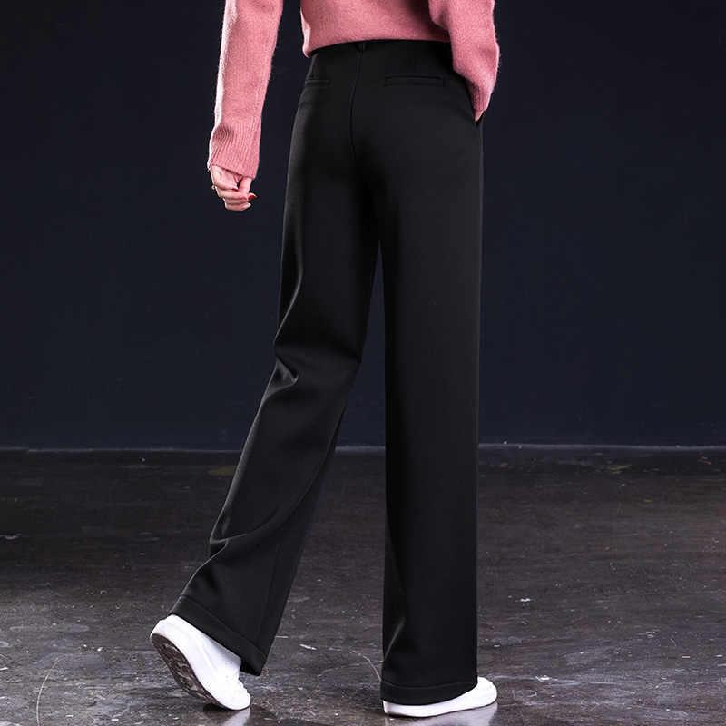 Z dzianiny wełny czarny stałe luźne kobiet szerokie spodnie nogi wysokiej talii jesień zima Plus rozmiar długi spodnie dla kobiet na co dzień moda
