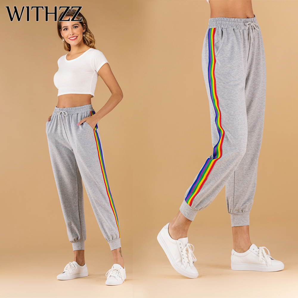 WITHZZ Spring Middle Waist Trousers Women's Loose Bottoms Rainbow Stripe Bandage Sports Casual Pants