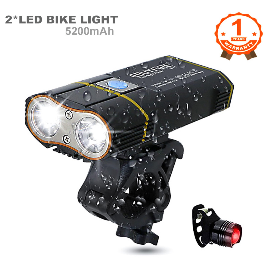 6000LM Bicycle Light 2x XML-L2 LED Bike Light With USB Rechargeable Battery Cycling Front Light +Handlebar Mount