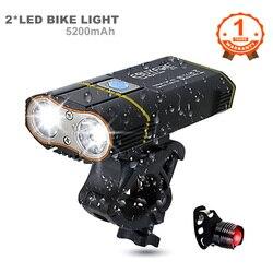 6000LM Lampu Sepeda 2x XML-L2 Lampu Sepeda LED dengan USB Baterai Isi Ulang Bersepeda Lampu Depan + Handlebar Mount