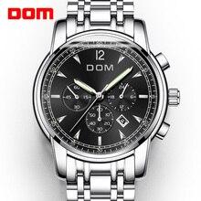 DOM นาฬิกาผู้ชายหรูหรายี่ห้อ Chronograph Men กีฬานาฬิกากันน้ำกันน้ำนาฬิกาควอตซ์ชาย Relogio M 75D 1MPE