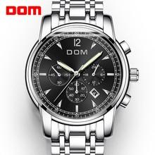 DOM Watches Men Luxury Brand Chronograph Men Sports Watches Waterproof Steel Luminous Quartz Mens Watch Relogio M 75D 1MPE