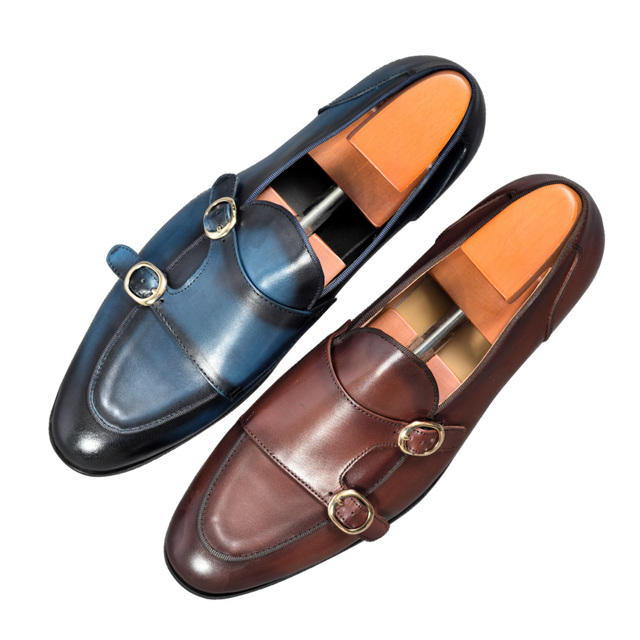 Cuir véritable hommes chaussures décontractées marron bleu couleur bureau affaires Oxford Double boucle sangle italie Style chaussure