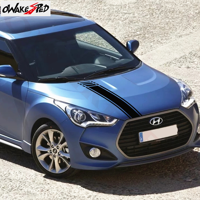 Car Styling Hood Bonnet Sport Stripes Decor Stickers For-Hyundai Veloster Auto Cover Engine Stickers Vinyl Decals Accessories 5