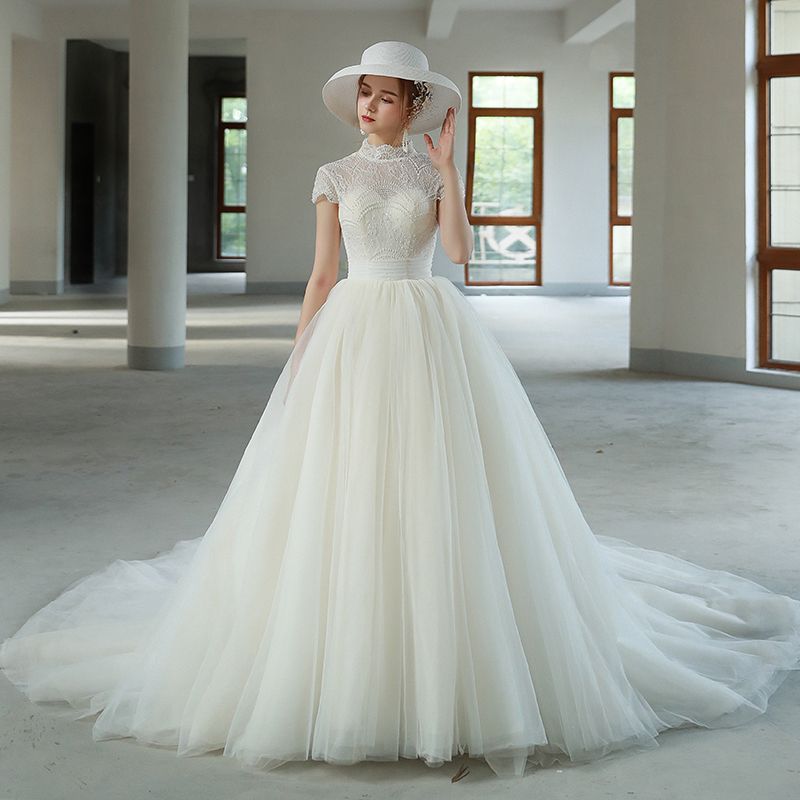 Dressv High Neck Wedding Dress A Line Short Sleeves Lace Up Floor Length Bridal Court Train Outdoor Church Wedding Dresses Buy At The Price Of 134 64 In Aliexpress Com Imall Com,Vintage Pin Up Wedding Dresses