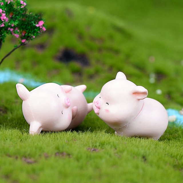 6Pcs/Set Pig Family figurine Animal Model Moss Micro Landscape Home Decor Miniature Fairy garden Decoration Baby Room Decoration 2