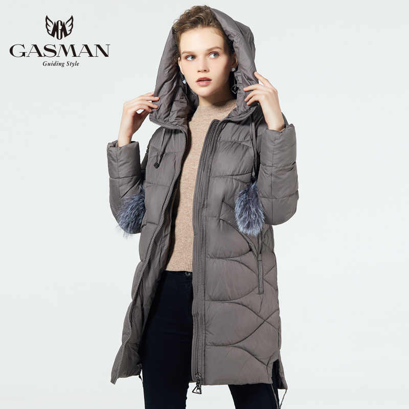 GASMAN 2019 الحيوي زغب معطف متوسطة طول المألوف أسفل معطف المرأة مقنعين سترة دافئة جديد الشتاء جمع