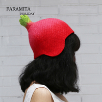 Faramita Holiday Naughty Pomegranate Christmas Gift Lovely Red Hand made Novelty Hats 10% Wool Winter Warm Hat Caps Exclusive