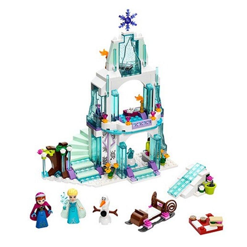 Playmobil 10435 Girl Compatible Legoinglys Friends Elsa's Sparkling Ice Castle Anna Elsa For Queen Olaf Building Blocks Toys