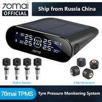 Inglês app 70mai sistema de monitoramento de pressão dos pneus energia solar embutido/externo 70 mai tpms sensores de pressão dos pneus segurança do carro