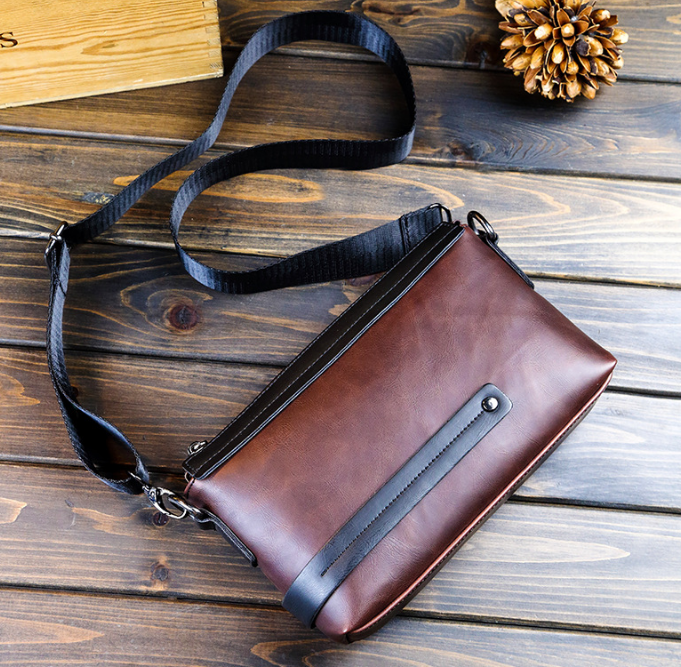 Vintage Simple Mixed Colors Men Mini Office Bag Leather Shoulder Bags Gentle Mens Commuter Multi Use Bag Bolso Hombre DF269