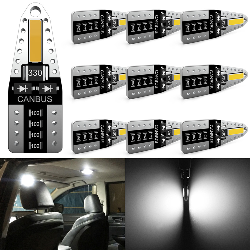 Katur 10x No Error W5W T10 LED Bulb Car Interior Lights For Peugeot 4008 5008 307 206 308 407 207 406 208 3008 2008 508 408 306