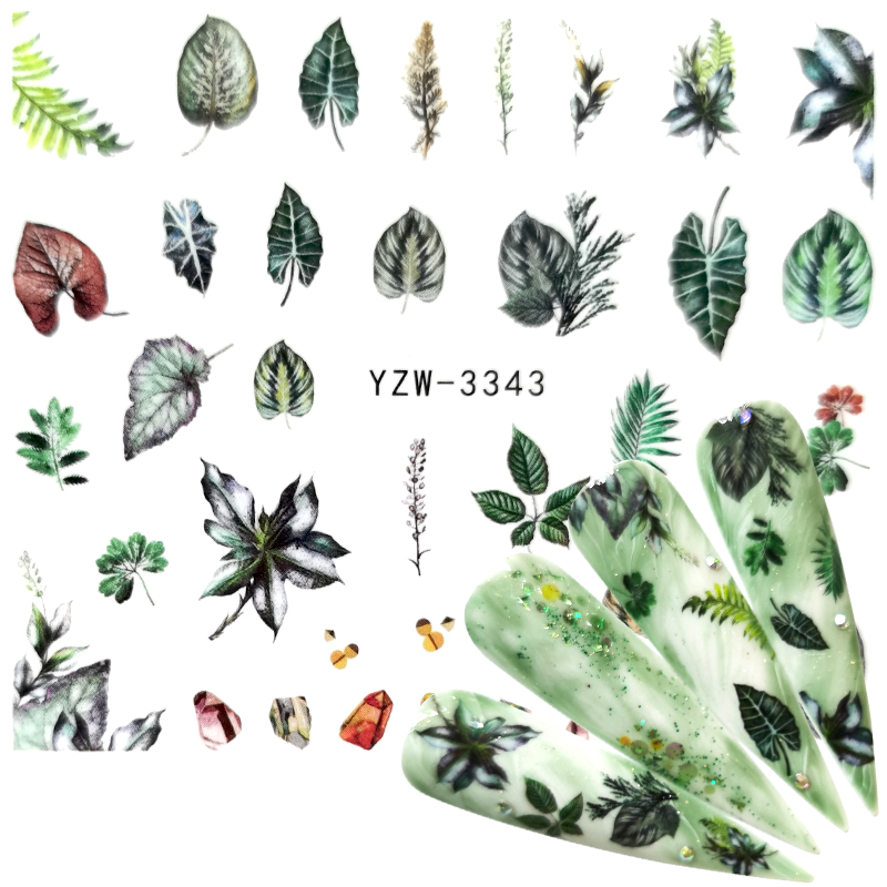 YWK 2020 1PC Water Nail Decal And Sticker Flower Leaf Tree Green Simple Summer Slider For Manicure Nail Art Watermark Tips