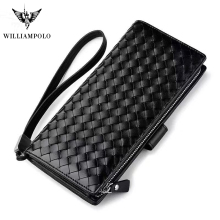 Men wallet Italy Knitting Exquisite Genuine Leather Wallet Men Magic Wallet Clutch Bag Wallet PL117 Black