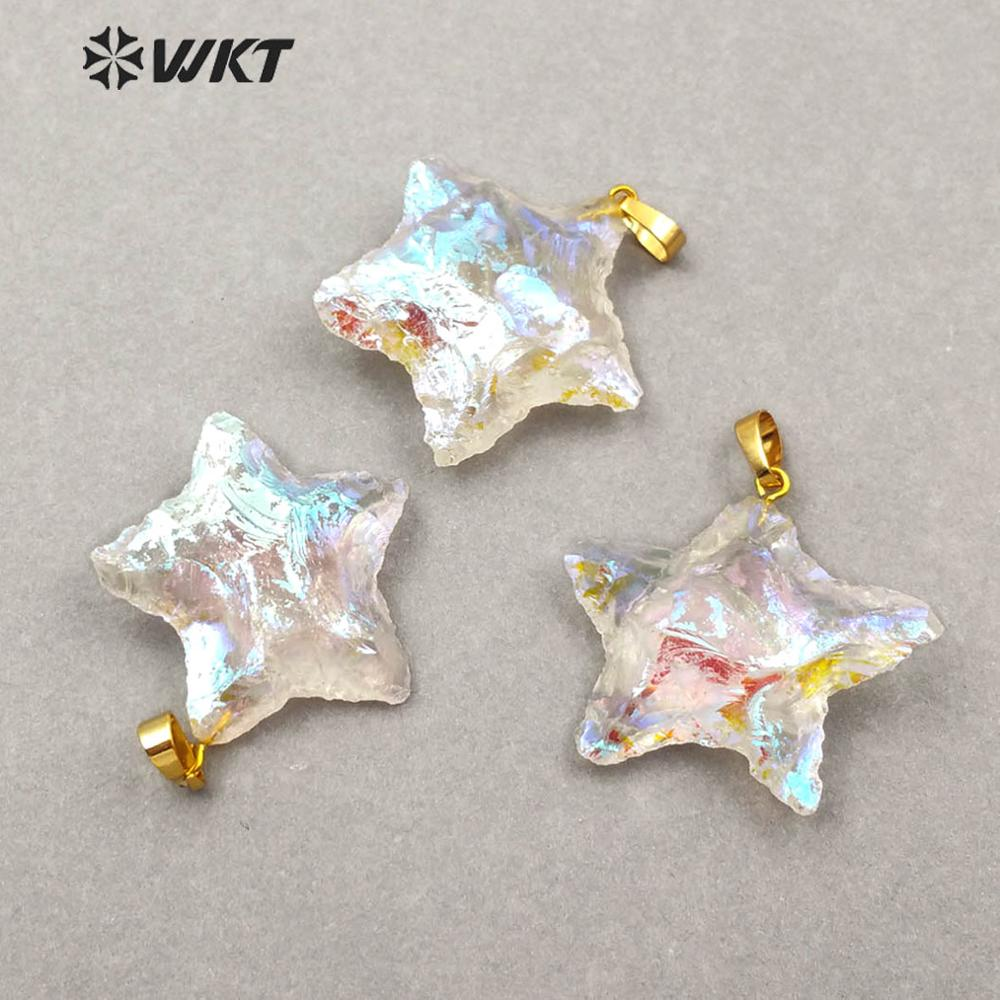 WT-P1461 WKT New Arrivals <font><b>Raw</b></font> <font><b>Crystal</b></font> Quartz Star Shape <font><b>Pendant</b></font> Women Fashion Necklace <font><b>Pendant</b></font> Jewelry image