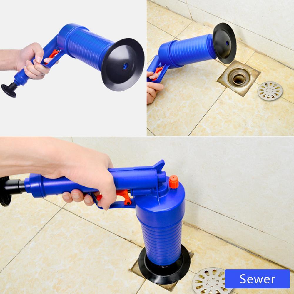 Alta pressão de energia do ar arma blaster dreno poderoso manual da pia do atuador abridor bomba mais limpa para banheiros chuveiros para banheiro