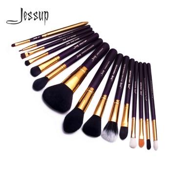 Juego de brochas de maquillaje Jessup, brochas moradas/doradas, brochas de maquillaje, Kit de cosméticos de pelo sintético, brochas de maquillaje en polvo, brochas para colorete, 15 Uds