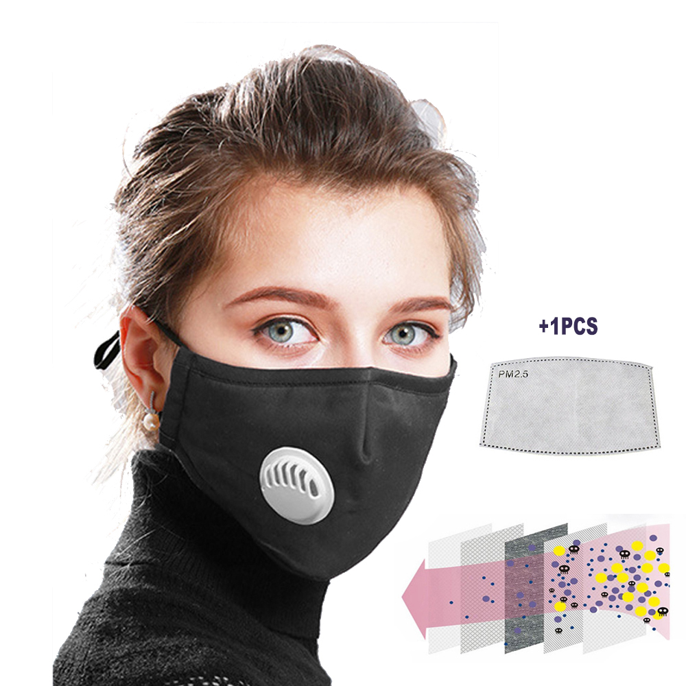 PM2.5 Mouth Mask Safe Breathable Mask Dust With Filter Paper Respirator Health Care Washable Reusable Cotton Flu Face Mask